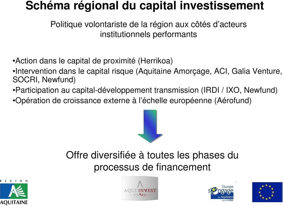 ACI, Galia Venture, SOCRI, Newfund) Participation au capital-développement transmission (IRDI / IXO, Newfund)