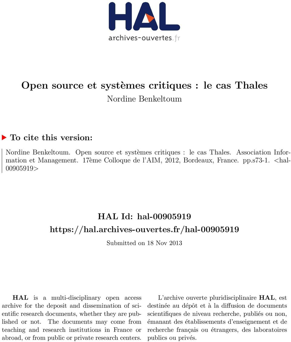 fr/hal-00905919 Submitted on 18 Nov 2013 HAL is a multi-disciplinary open access archive for the deposit and dissemination of scientific research documents, whether they are published or not.