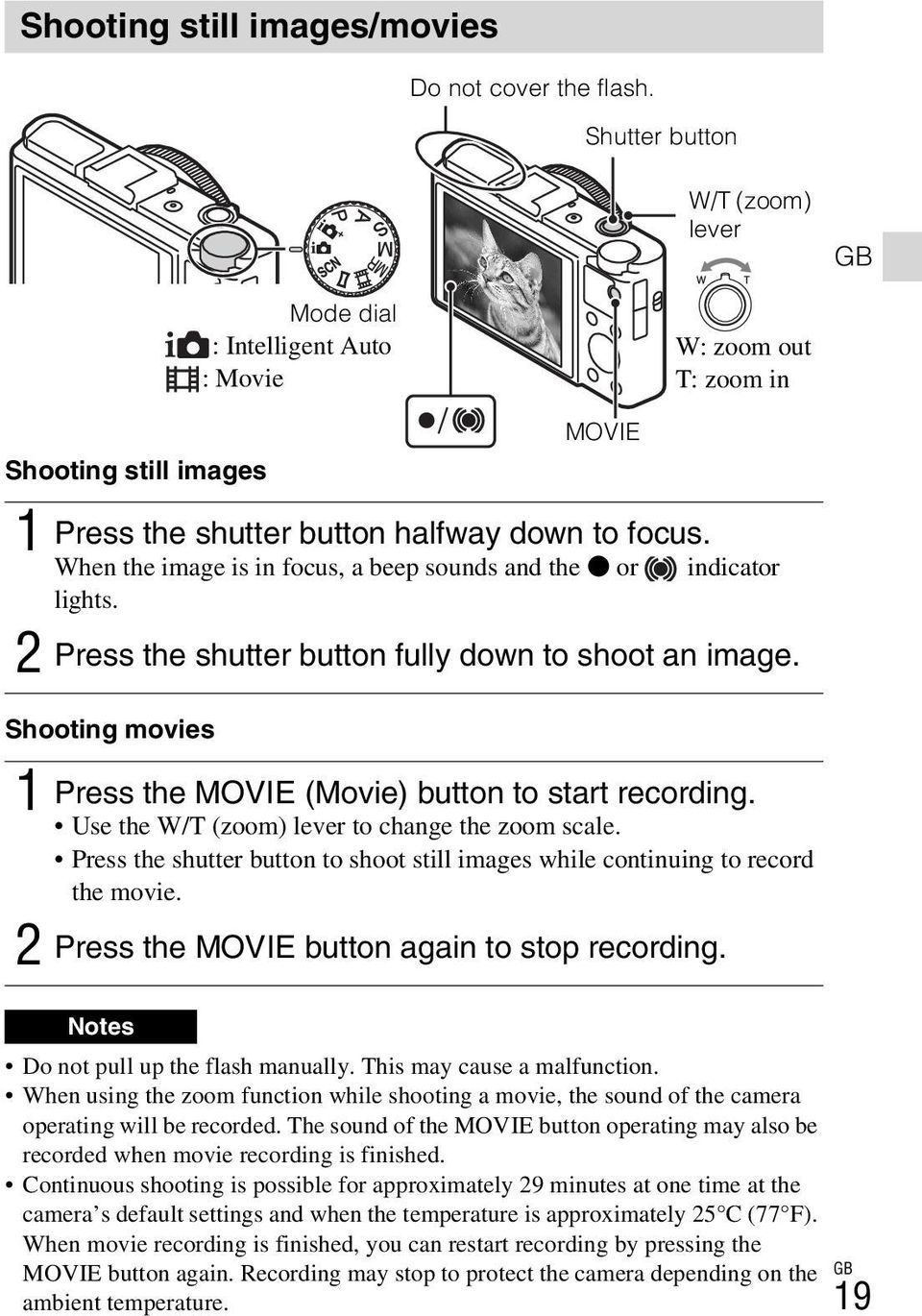 When the image is in focus, a beep sounds and the z or indicator lights. 2 Press the shutter button fully down to shoot an image. Shooting movies 1 Press the MOVIE (Movie) button to start recording.
