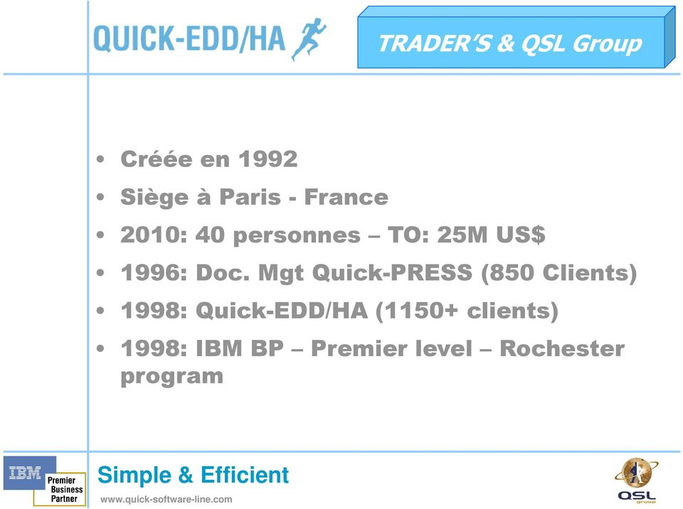 Mgt Quick-PRESS (850 Clients) 1998: Quick-EDD/HA