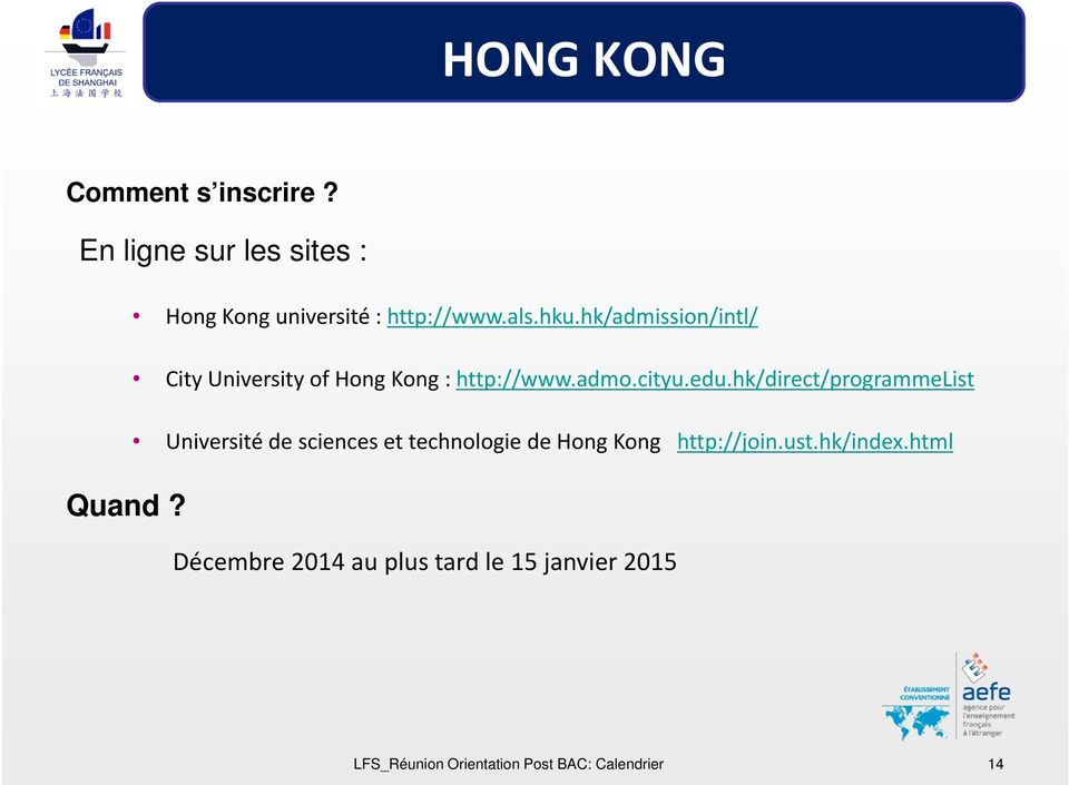 hk/direct/programmelist Université de sciences et technologie de Hong Kong http://join.ust.