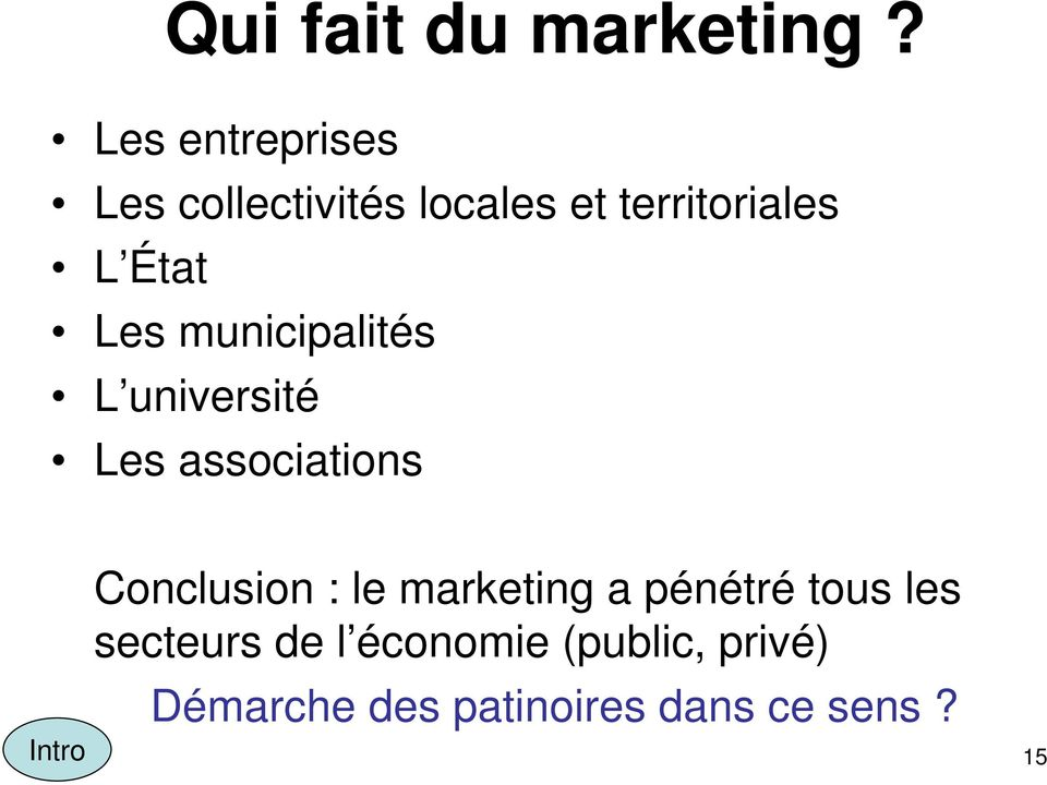 Les municipalités L université Les associations Intro Conclusion :