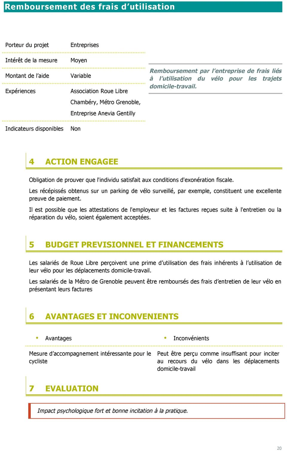Indicateurs disponibles Non 4 ACTION ENGAGEE Obligation de prouver que l'individu satisfait aux conditions d'exonération fiscale.