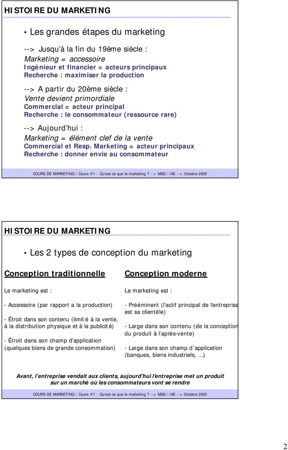 Marketing = acteur principaux Recherche : donner envie au consommateur HISTOIRE DU MARKETING Les 2 types de conception du marketing Conception traditionnelle Le marketing est : - Accessoire (par