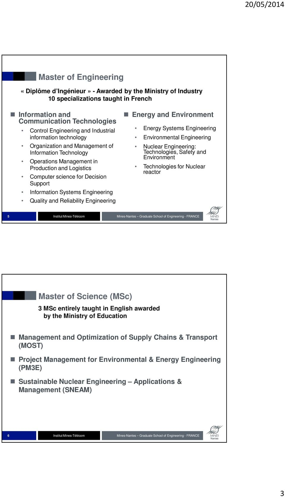 Quality and Reliability Engineering Energy and Environment Energy Systems Engineering Environmental Engineering Nuclear Engineering: Technologies, Safety and Environment Technologies for Nuclear