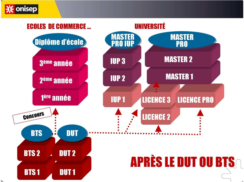 2 MASTER 1 1 ère année IUP 1 LICENCE 3 LICENCE PRO