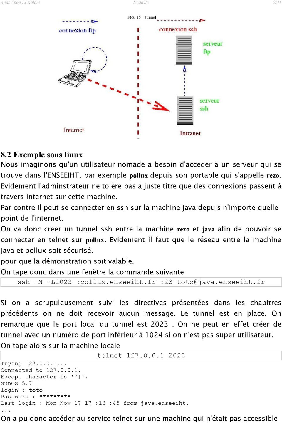Par contre Il peut se connecter en ssh sur la machine java depuis n'importe quelle point de l'internet.