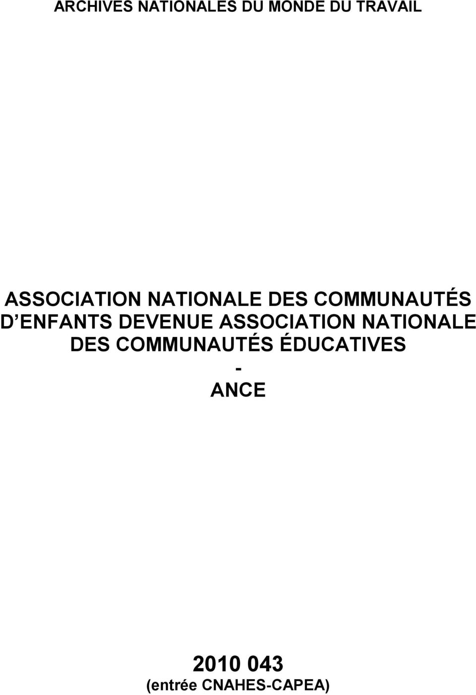ENFANTS DEVENUE ASSOCIATION NATIONALE DES