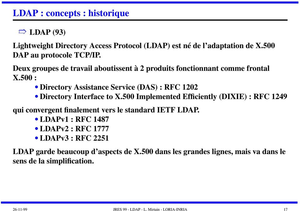 500 : Directory Assistance Service (DAS) : RFC 1202 Directory Interface to X.