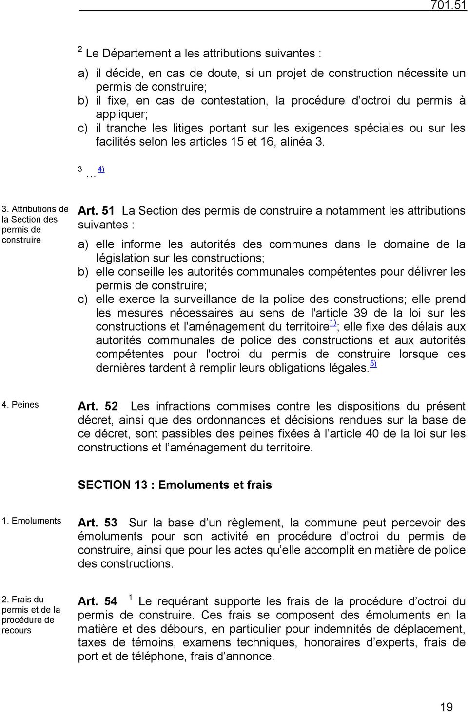 Attributions de la Section des permis de construire Art.