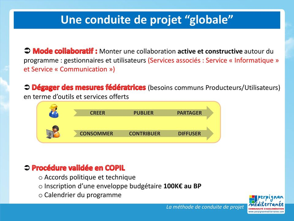 offerts (besoins communs Producteurs/Utilisateurs) CREER PUBLIER PARTAGER CONSOMMER CONTRIBUER DIFFUSER o Accords