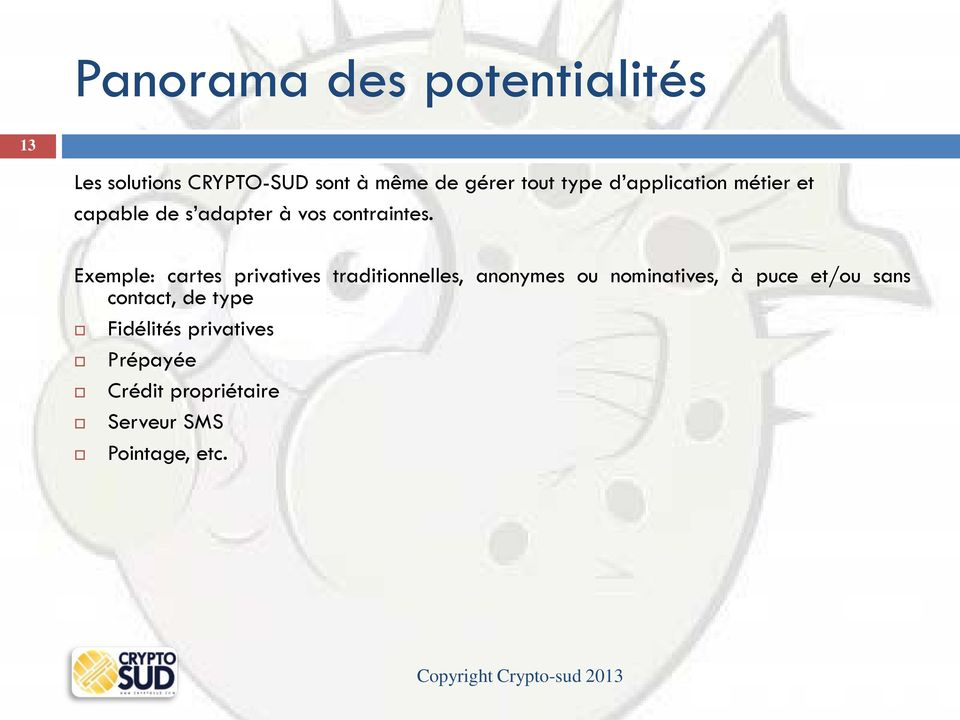 Exemple: cartes privatives traditionnelles, anonymes ou nominatives, à puce et/ou