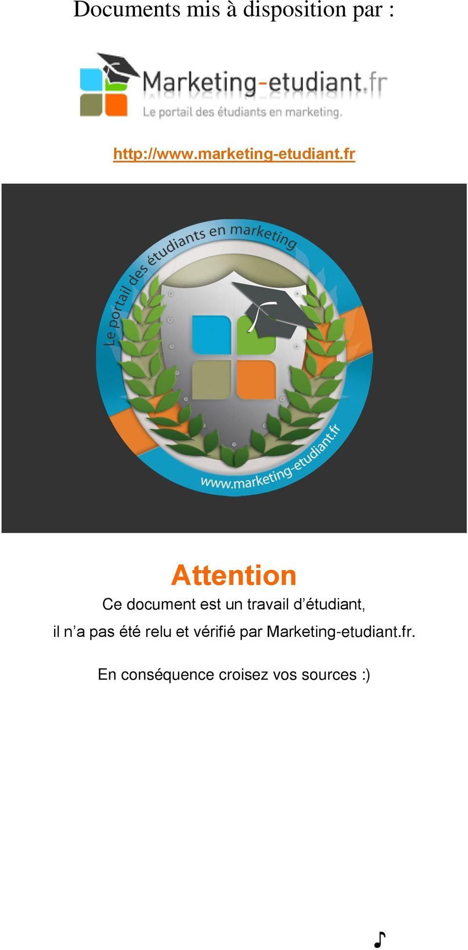 fr Attention Ce document est un travail d étudiant,