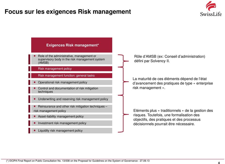 Risk management policy Risk management function: general tasks Operational risk management policy Control and documentation of risk mitigation techniques La maturité de ces éléments dépend de l état