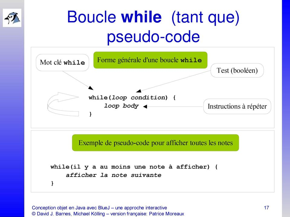 while(loop condition) { loop body Instructions à répéter Exemple de pseudo-code pour