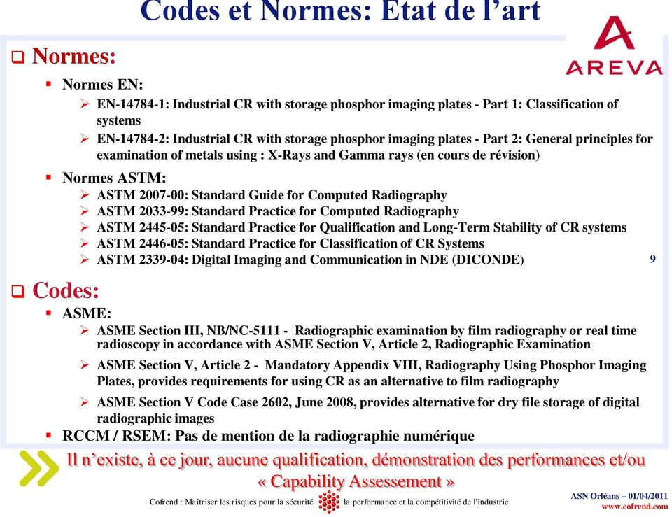 2033-99: Standard Practice for Computed Radiography ASTM 2445-05: Standard Practice for Qualification and Long-Term Stability of CR systems ASTM 2446-05: Standard Practice for Classification of CR