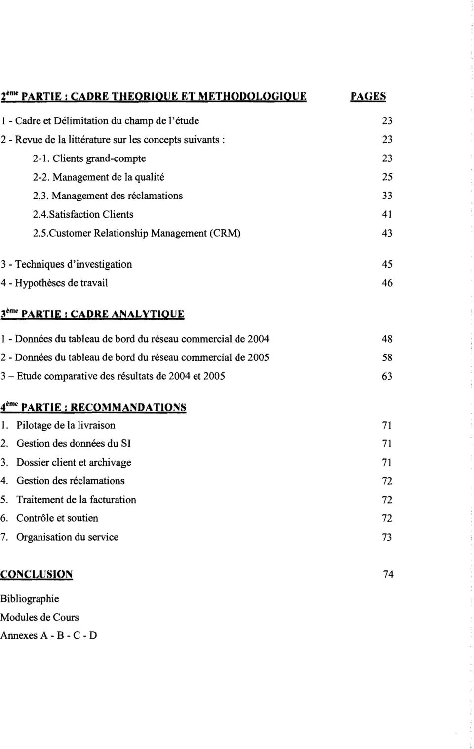 Customer Relationship Management (CRM) PAGES 23 23 23 25 33 41 43 3- Techniques d'investigation 4 - Hypothèses de travail 45 46 3ème PARTIE: CADRE ANALYTIQUE 1 - Données du tableau de bord du réseau