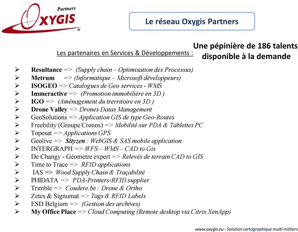 Management GeoSolutions => Application GIS de type Geo-Routes Freebility (Groupe Cronos) => Mobilité sur PDA & Tablettes PC Toposat => Applications GPS Geolive => Sityzen : WebGIS & SAS mobile