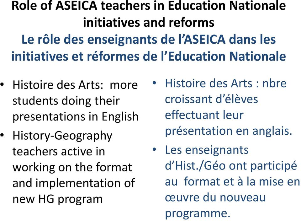 teachers active in working on the format and implementation of new HG program Histoire des Arts : nbre croissant d élèves