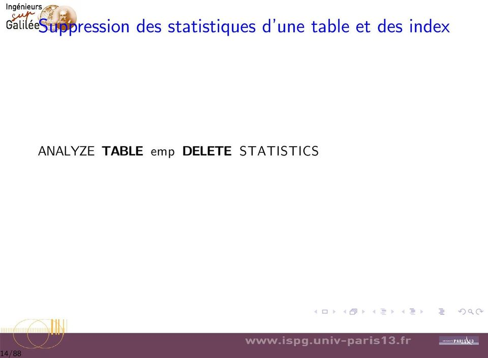 table et des index