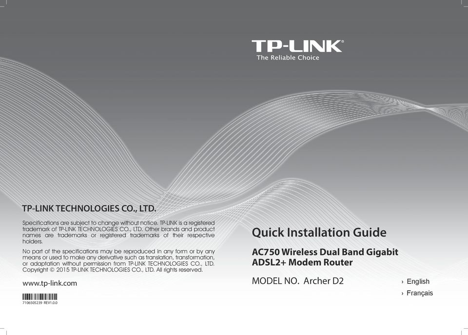 permission from TP-LINK TECHNOLOGIES CO., LTD. Copyright 2015 TP-LINK TECHNOLOGIES CO., LTD. All rights reserved. www.tp-link.