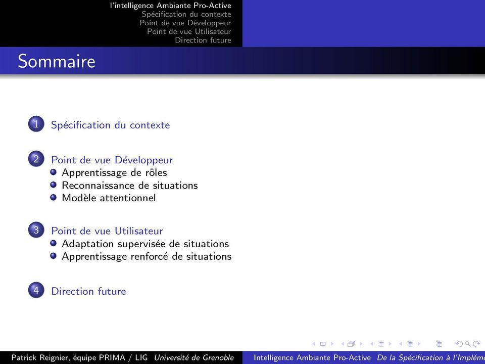 situations Modèle attentionnel 3 Adaptation
