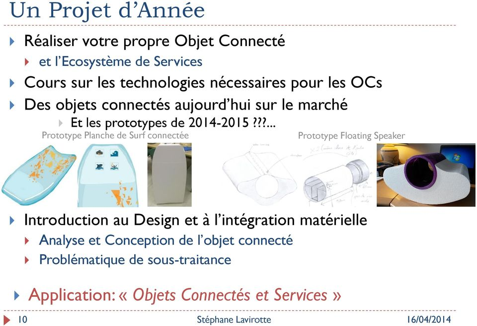 ??... Prototype Planche de Surf connectée Prototype Floating Speaker Introduction au Design et à l intégration