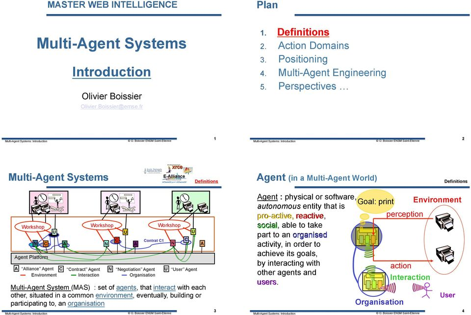 Environment Interaction Organisation U A Workshop N Contrat C1 Workshop Multi-Agent System (MAS) : set of agents, that interact with each other, situated in a common environment, eventually, building