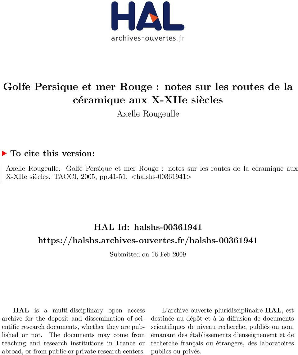 fr/halshs-00361941 Submitted on 16 Feb 2009 HAL is a multi-disciplinary open access archive for the deposit and dissemination of scientific research documents, whether they are published or not.