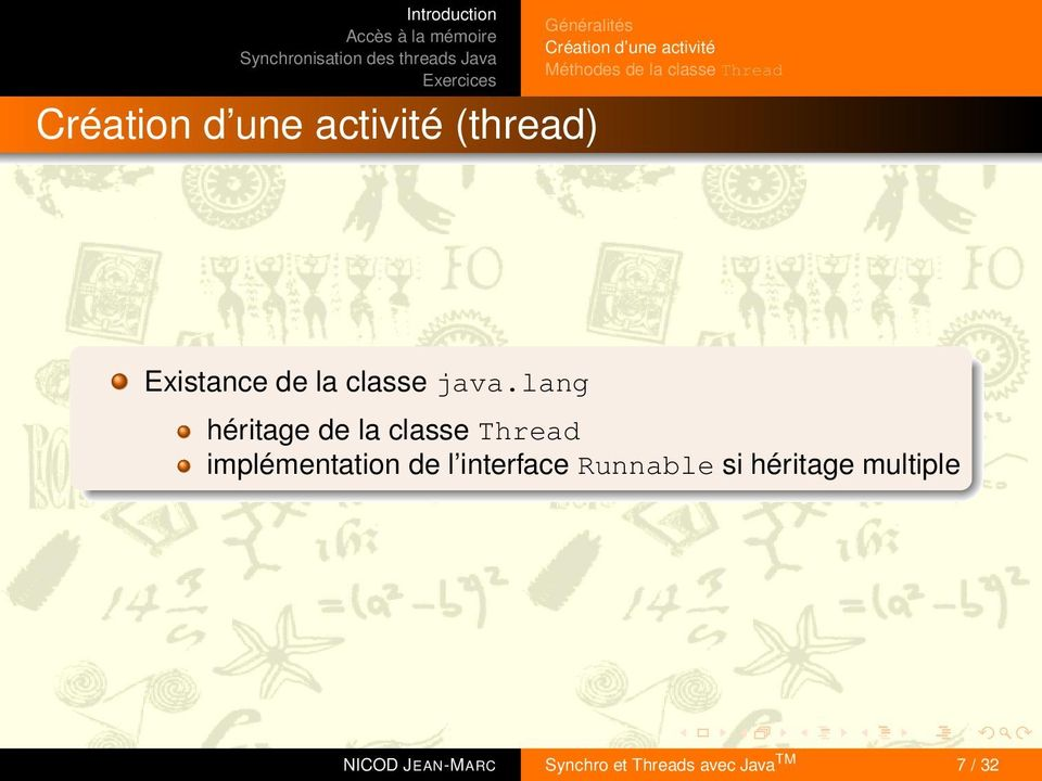 lang héritage de la classe Thread implémentation de l interface