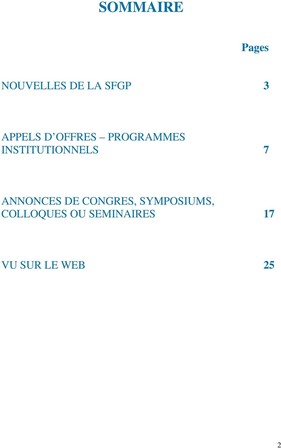 INSTITUTIONNELS 7 ANNONCES DE CONGRES,