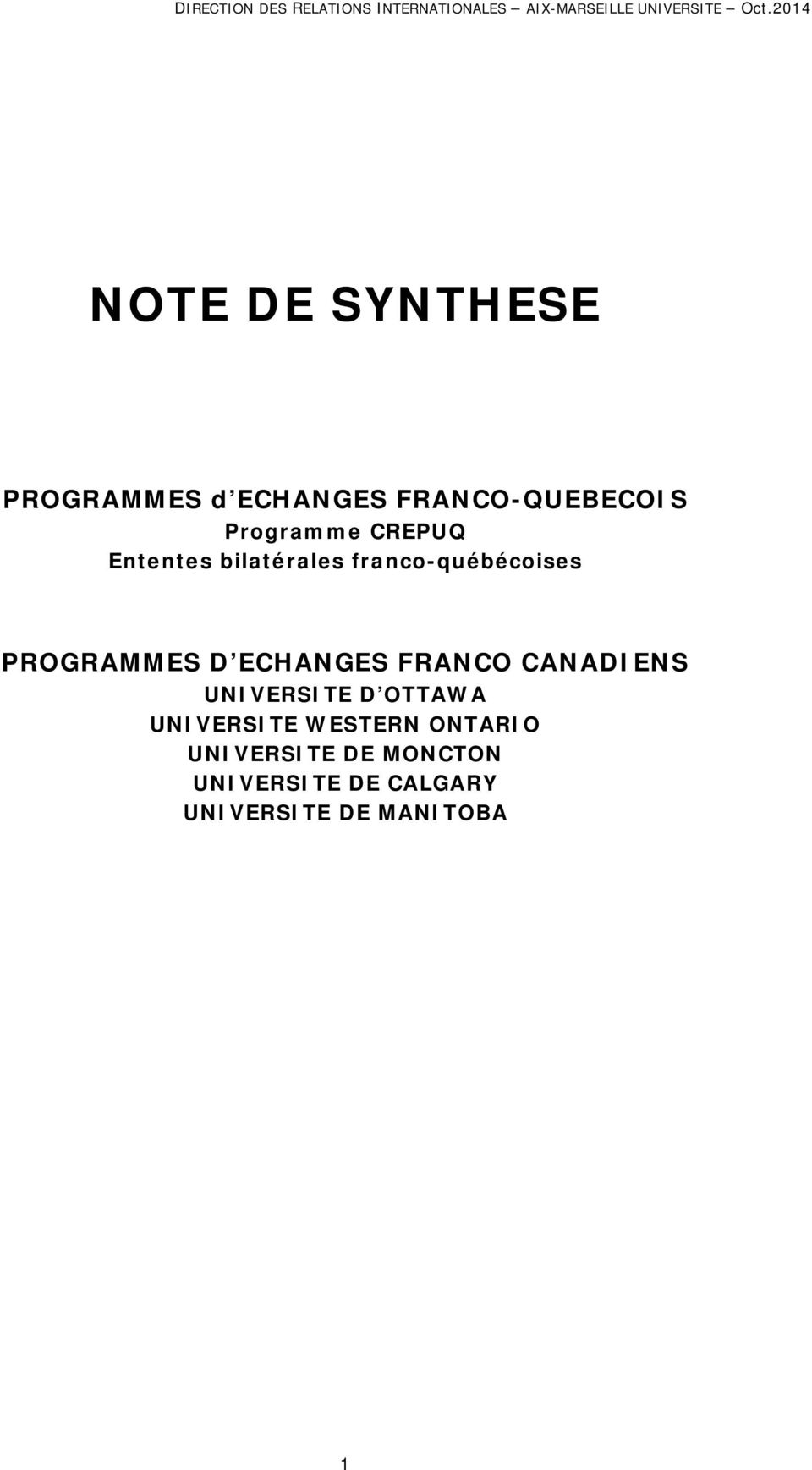 ECHANGES FRANCO CANADIENS UNIVERSITE D OTTAWA UNIVERSITE WESTERN