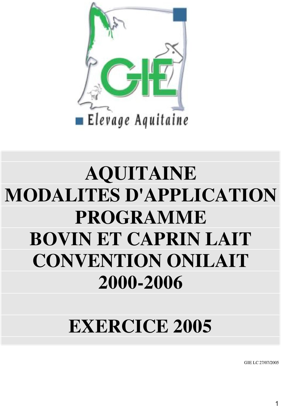 ET CAPRIN LAIT CONVENTION