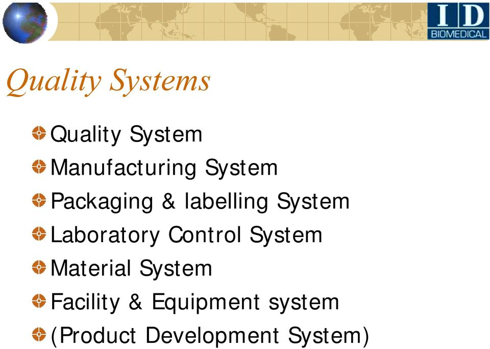 Laboratory Control System Material System