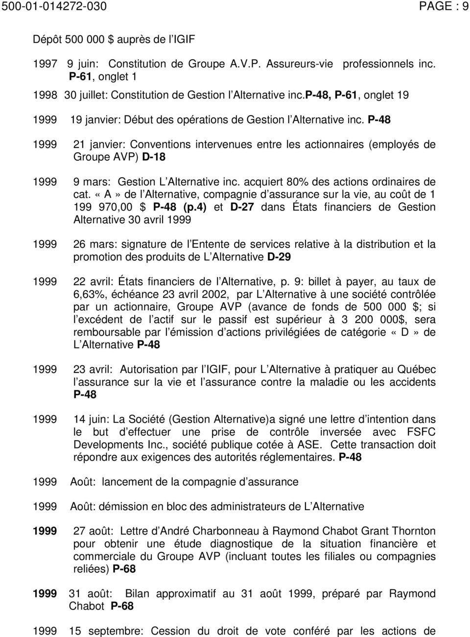 P-48 1999 21 janvier: Conventions intervenues entre les actionnaires (employés de Groupe AVP) D-18 1999 9 mars: Gestion L Alternative inc. acquiert 80% des actions ordinaires de cat.