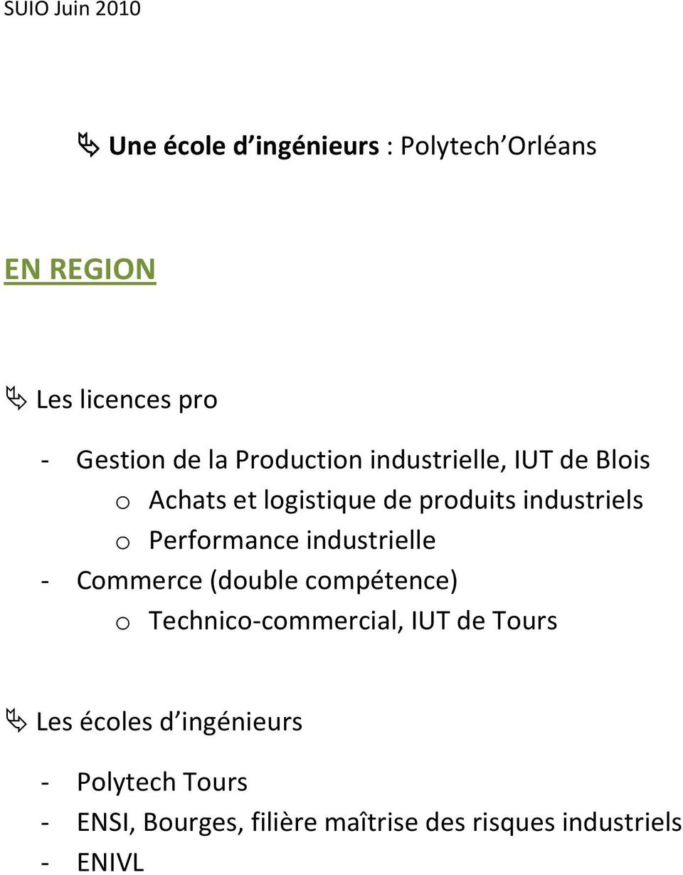 Performance industrielle - Commerce (double compétence) o Technico-commercial, IUT de Tours