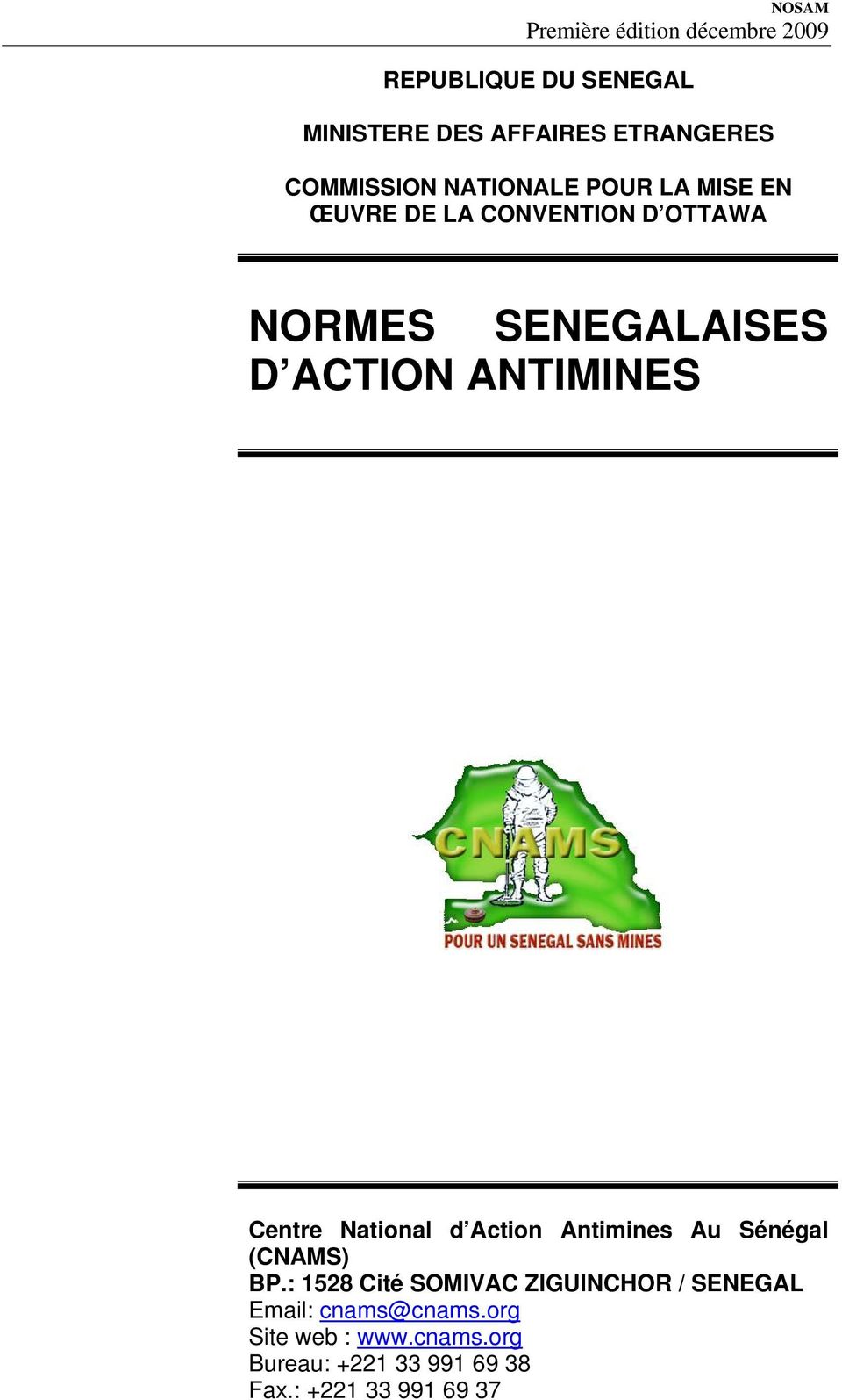 d Action Antimines Au Sénégal (CNAMS) BP.