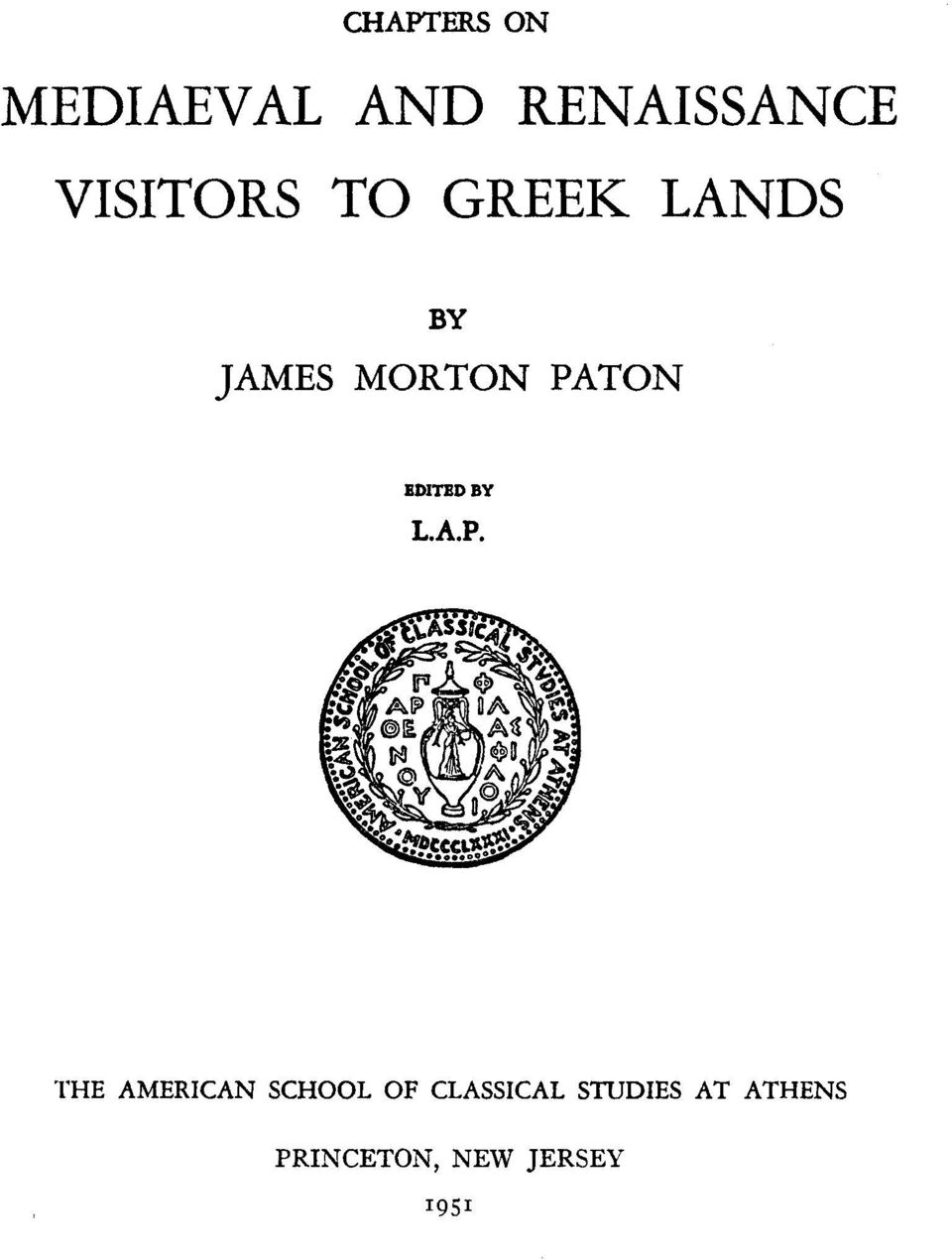 PATON EDITED BY L.A.P. THE AMERICAN SCHOOL