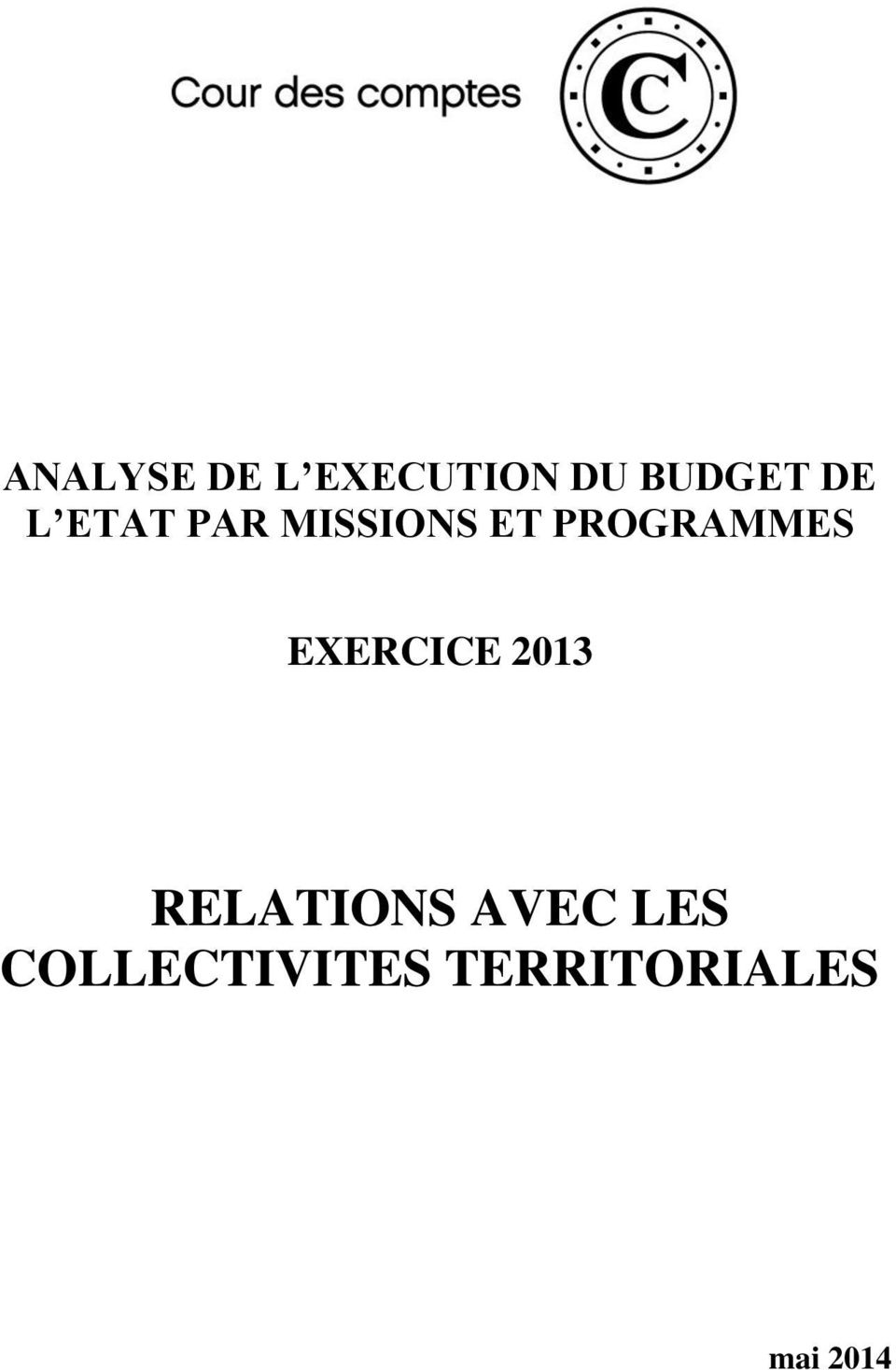 PROGRAMMES EXERCICE 2013 RELATIONS