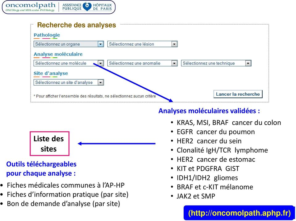 validées : KRAS, MSI, BRAF cancer du colon EGFR cancer du poumon HER2 cancer du sein Clonalité IgH/TCR lymphome