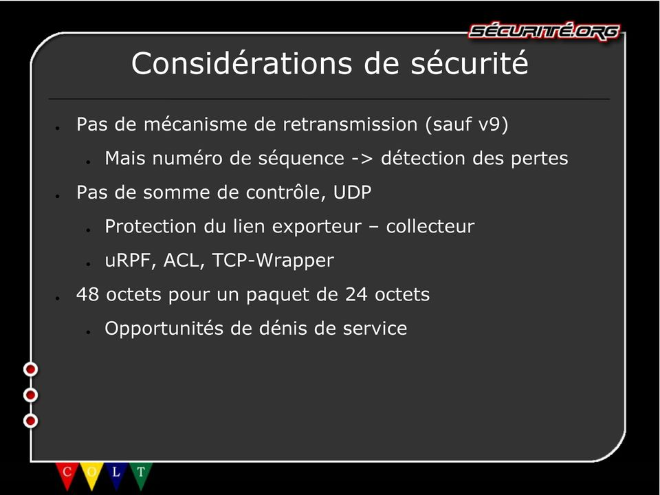 contôle, UDP Potection du lien expoteu collecteu urpf, ACL,