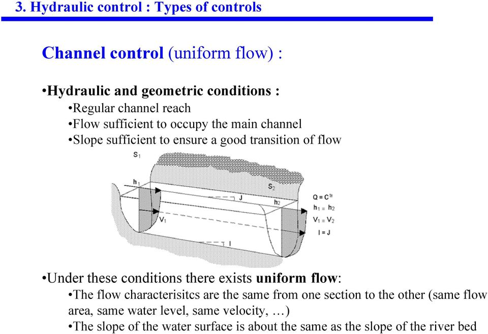 these conditions there exists uniform flow: The flow characterisitcs are the same from one section to the other (same
