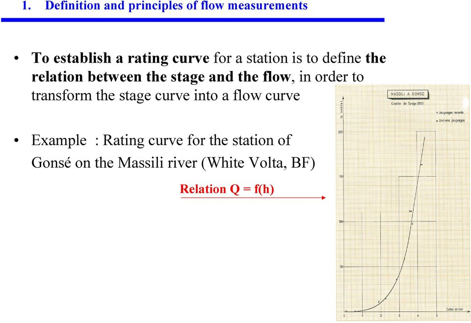order to transform the stage curve into a flow curve Example : Rating curve