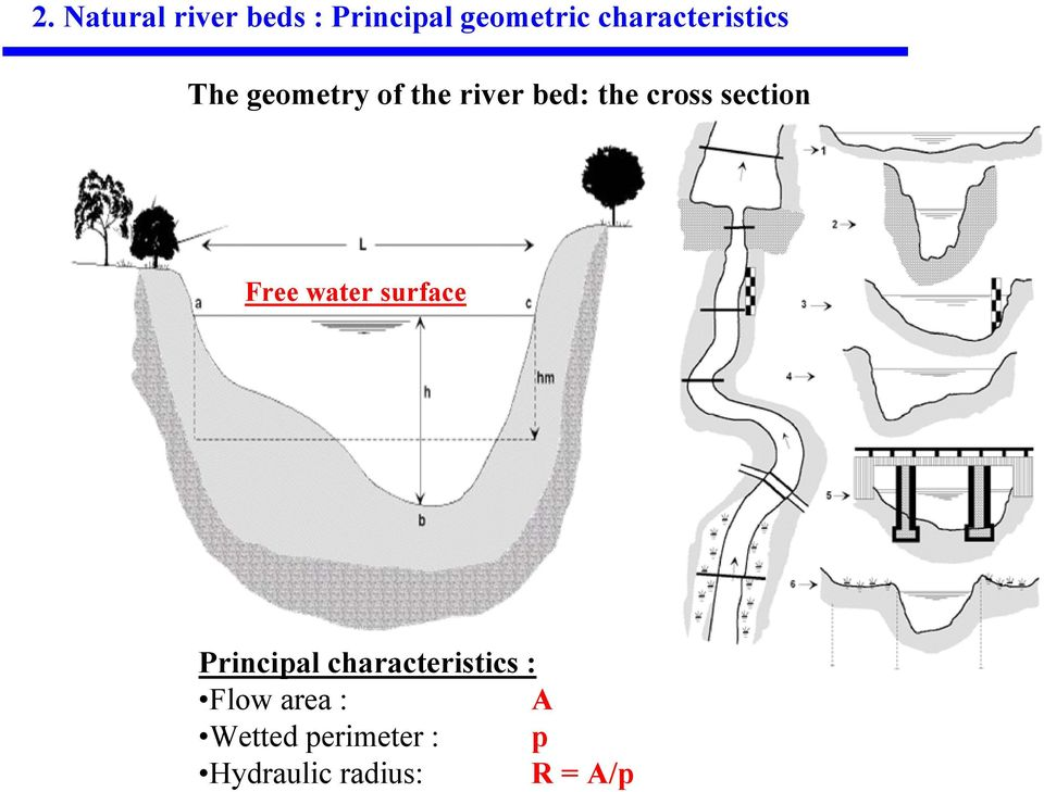 cross section Free water surface Principal