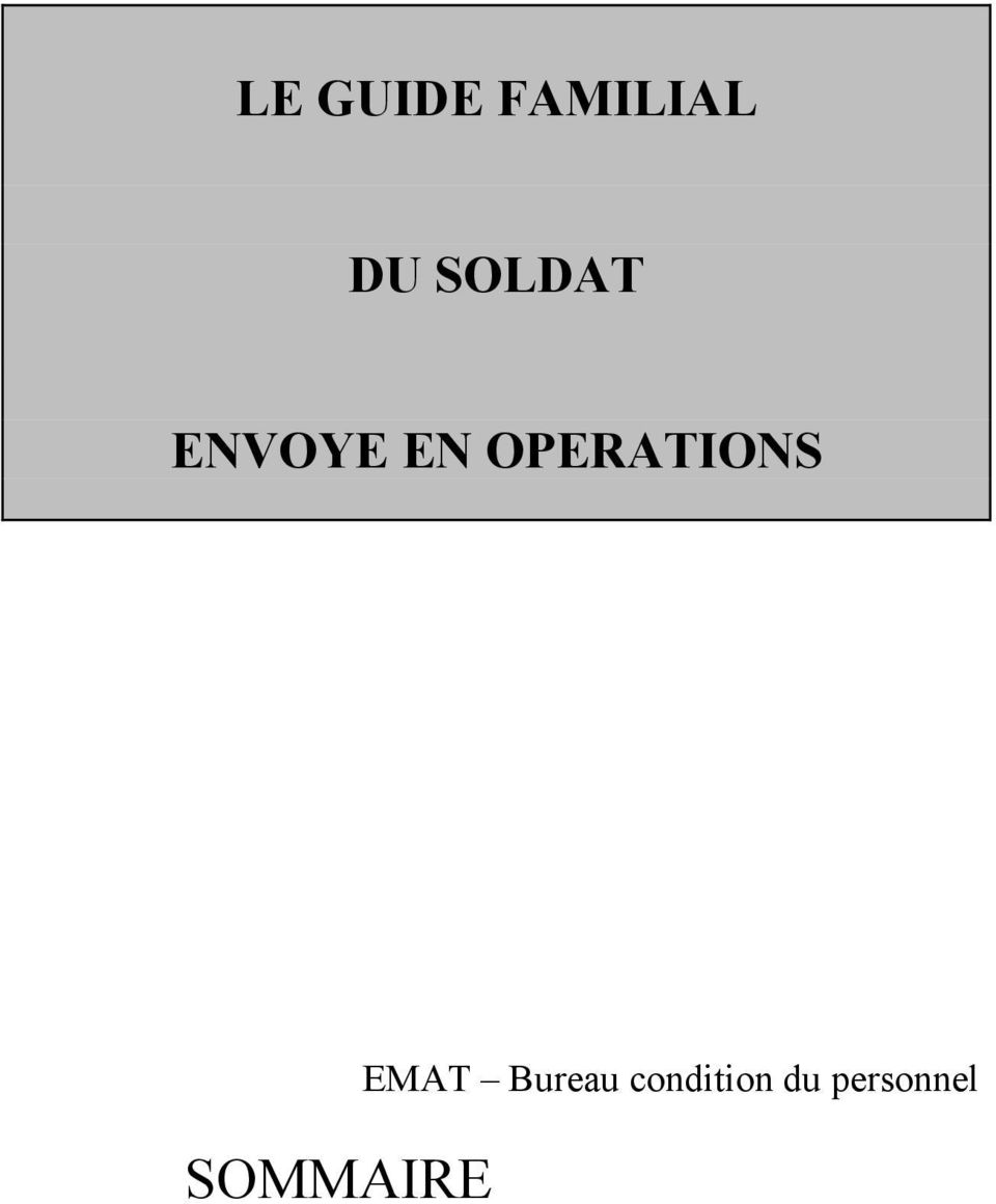 OPERATIONS SOMMAIRE