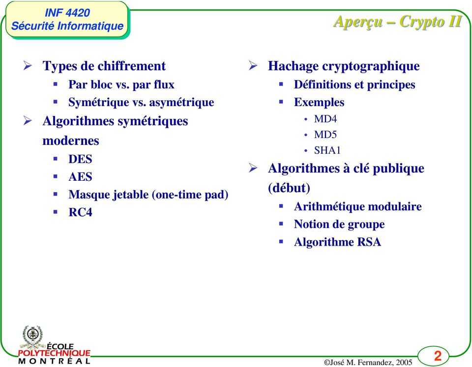 pad) RC4 Hachage cryptographique Définitions et principes Exemples MD4 MD5 SHA1