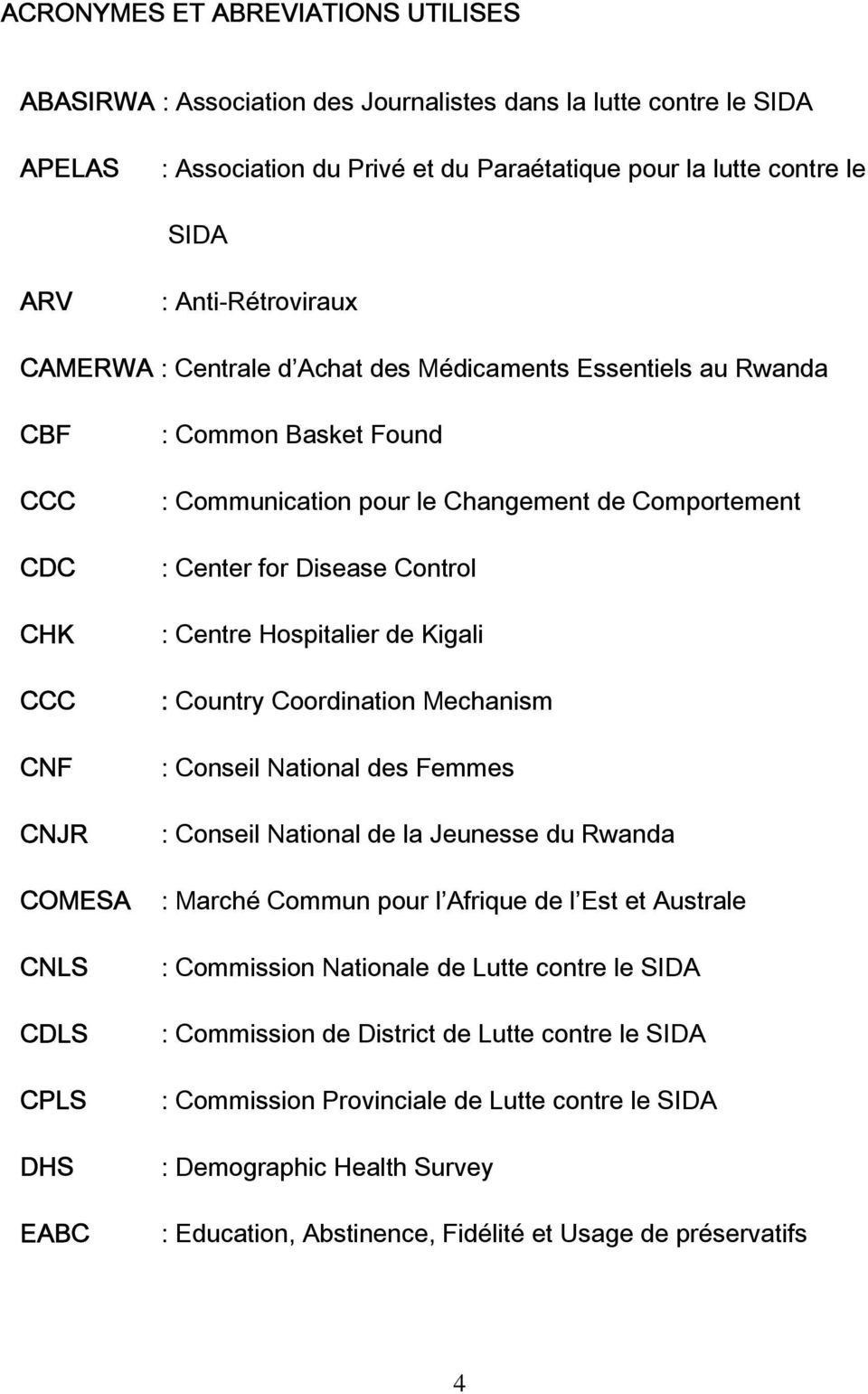 de Comportement : Center for Disease Control : Centre Hospitalier de Kigali : Country Coordination Mechanism : Conseil National des Femmes : Conseil National de la Jeunesse du Rwanda : Marché Commun