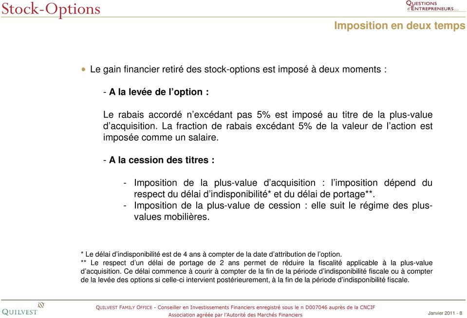 Taxation stock options en france