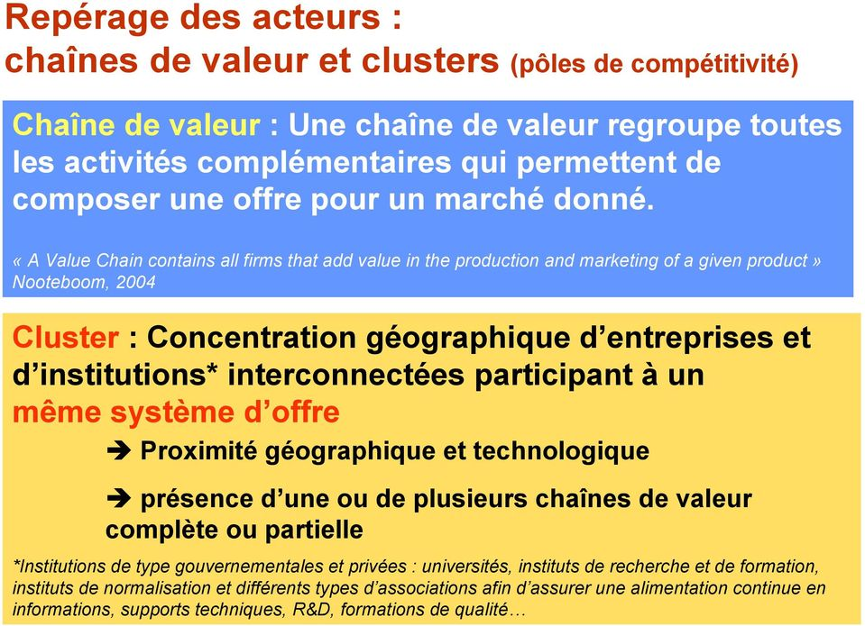 «A Value Chain contains all firms that add value in the production and marketing of a given product» Nooteboom, 2004 Cluster : Concentration géographique d entreprises et d institutions*