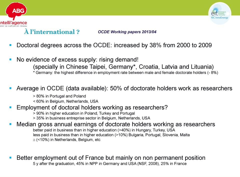 available): 50% of doctorate holders work as researchers > 80% in Portugal and Poland < 60% in Belgium, Netherlands, USA Employment of doctoral holders working as researchers?